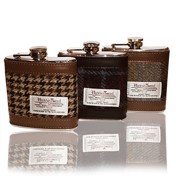 A Selection of Authentic Harris Tweed 6 oz Stainless Steel Hip Flask Available !